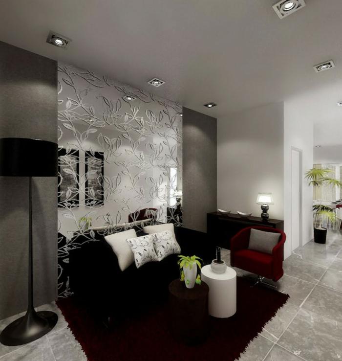 wohnzimmereinricgtung ideen dunkelroter teppich schwarzes sofa weiße dekokissen roter sessel
