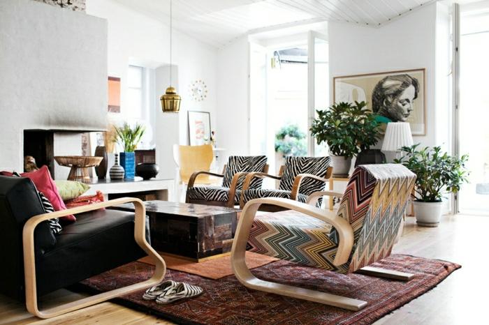 wohnzimmereinrichtung ideen tolle muster farbiger teppich