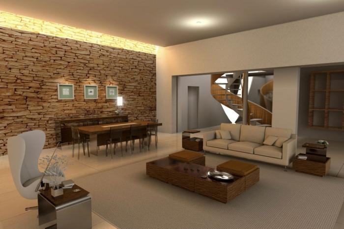 wohnzimmergestaltung offener wohnplan essbereich steinwand