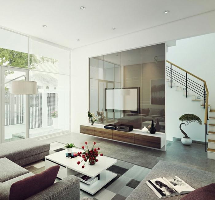 wohnzimmergestaltung spiegeloberflächen tischdeko innentreppe