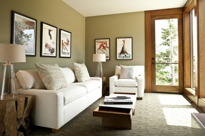 wohnzimmergestaltung weißes sofa cooler beistelltisch tischlampen
