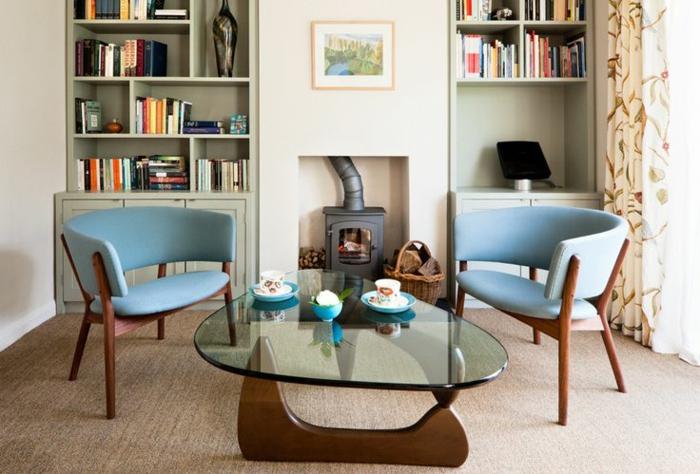 50er jahre möbel blaue sessel sofas moderne interpretation