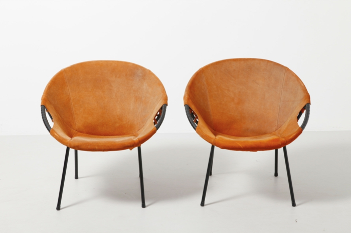 50er jahre möbel cocktail stühle leder orange modestfurniture