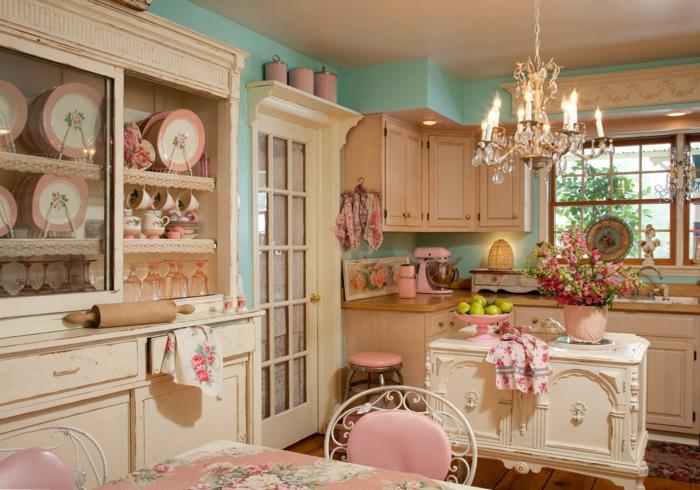 50er jahre möbel kücheneinrichtung rosa ornamenten
