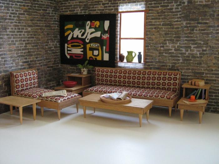 50er jahre möbel muster sofa sessel hocker offene ziegelwand