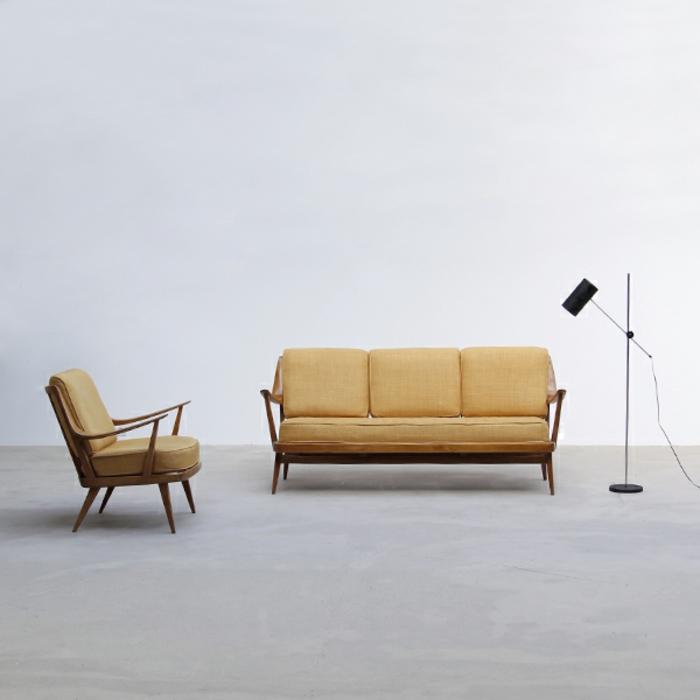 50er jahre möbel sofa sessel gepolstert marked knoll
