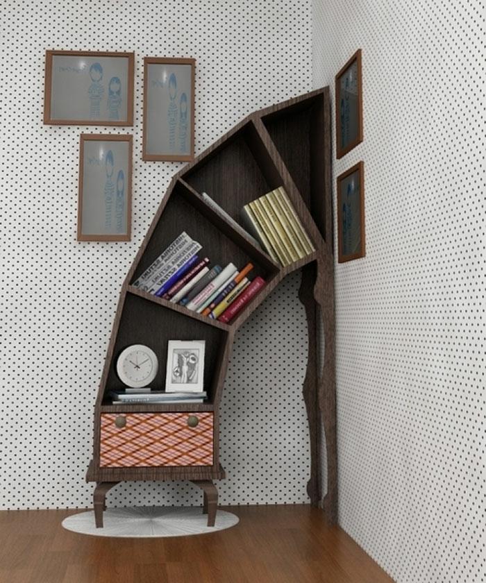 Bücherregale schnecke schief
