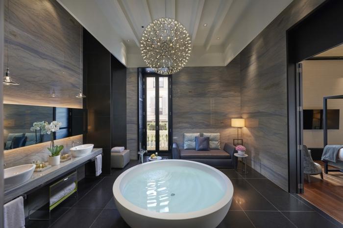 Badezimmerideen holzdesign luxus