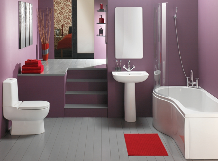 Badezimmerideen holzdesign rosa