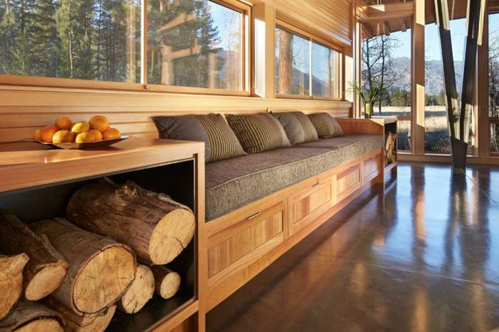 Brennholz lagern intern einbau neben
