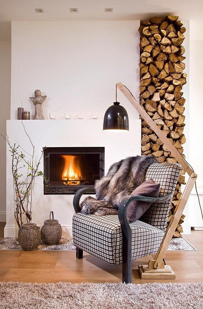 Brennholz lagern ideen wohnzimmer garten  Brennholz lagern- die dekorative Seite des Brennholzes