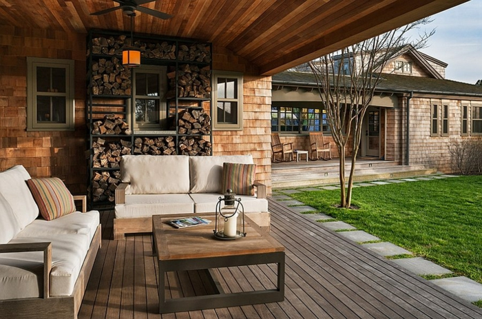 Brennholz lagern intern veranda