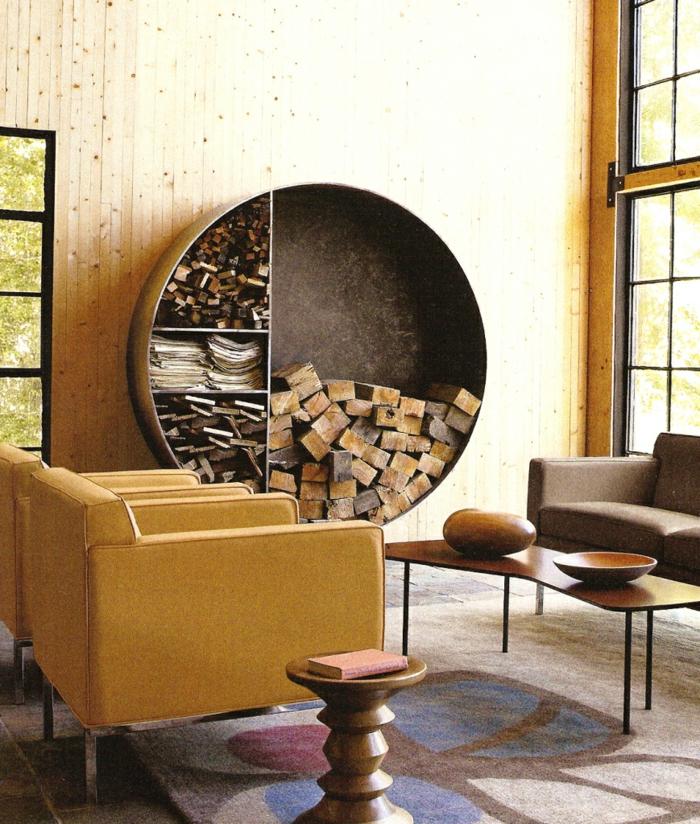 Moderne Kuchenmobel Kaminholz Aufbewahrung Wohnzimmer