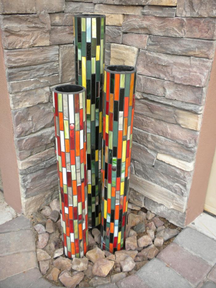 Mosaik selber machen regentonne Mosaiksteine