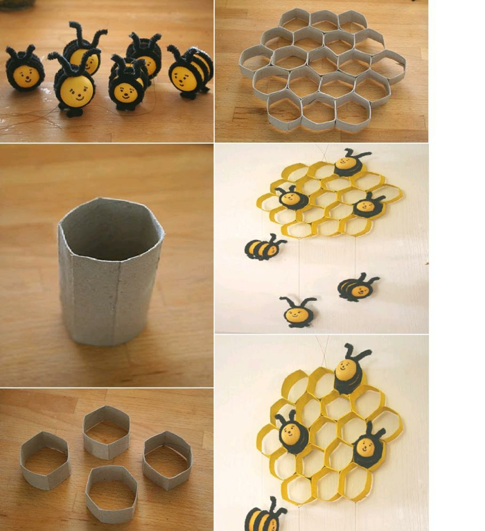 Party dekoration und handgemachtes aus klopapierrollen for Bienen dekoration