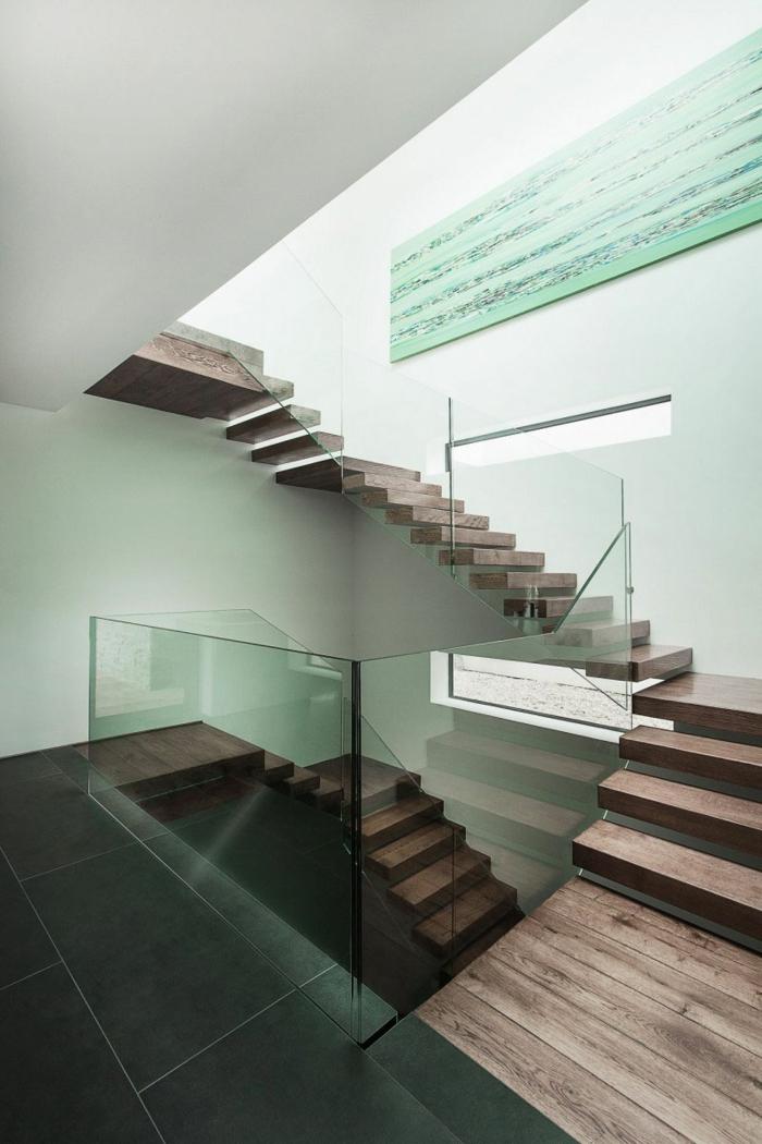 Schwebende Treppe glas geländer