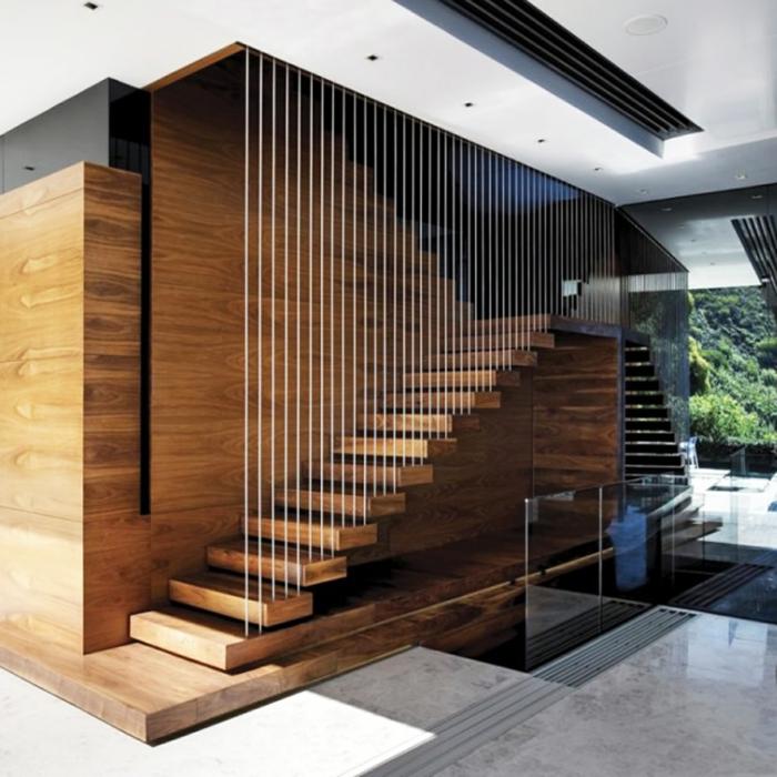 Schwebende Treppe holz stahl