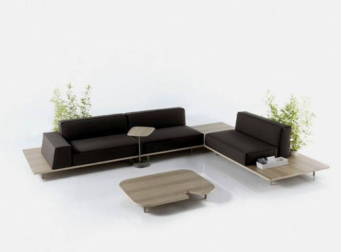 ausgefallene sofas modernes schwarzes sofa pflanzen