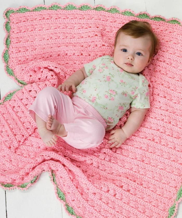 baby kuscheldecke gestrickt rosa mädchen