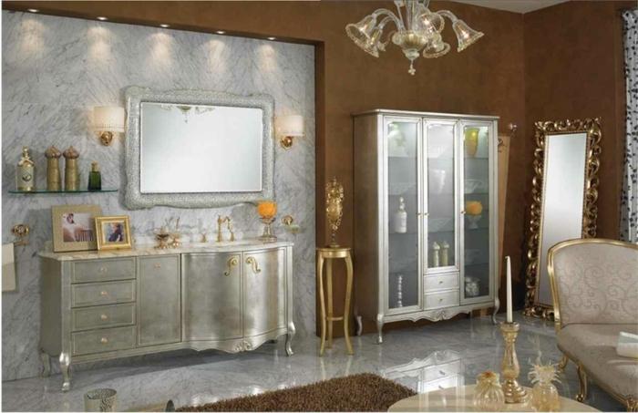 badezimmer gestalten luxuriös teppich eingebaute leuchten