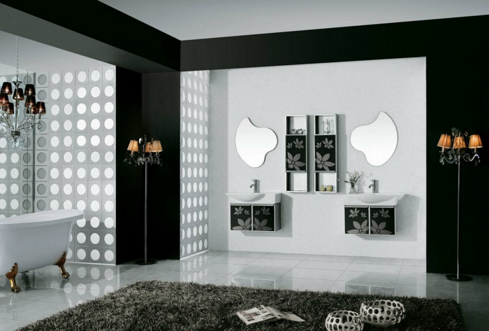 badezimmer gestalten teppich weiße wandfarbe bodenfliesen stehlampen