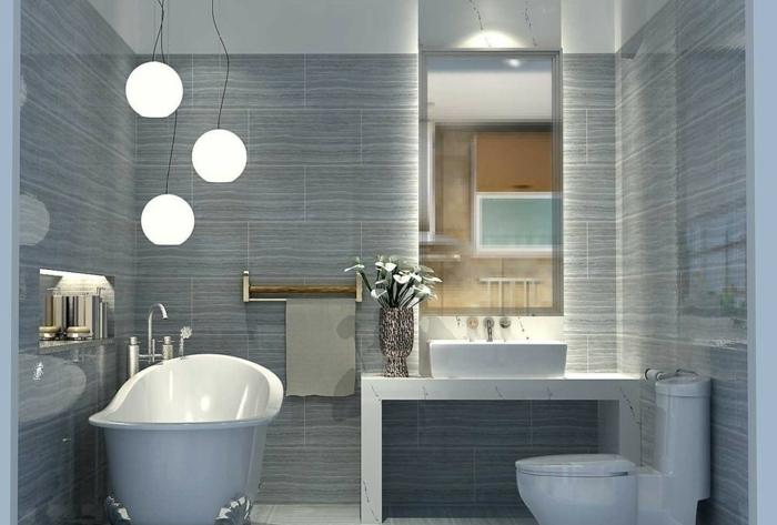badfliesen kleines badezimmer pendelleuchten badewanne
