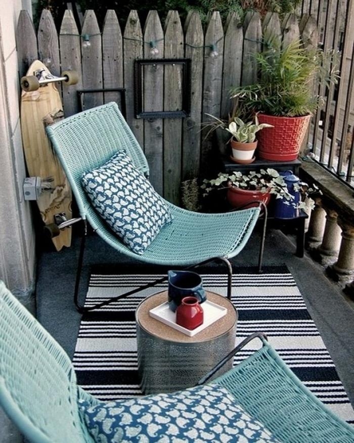 balkon deko ideen teppichläufer beistelltisch