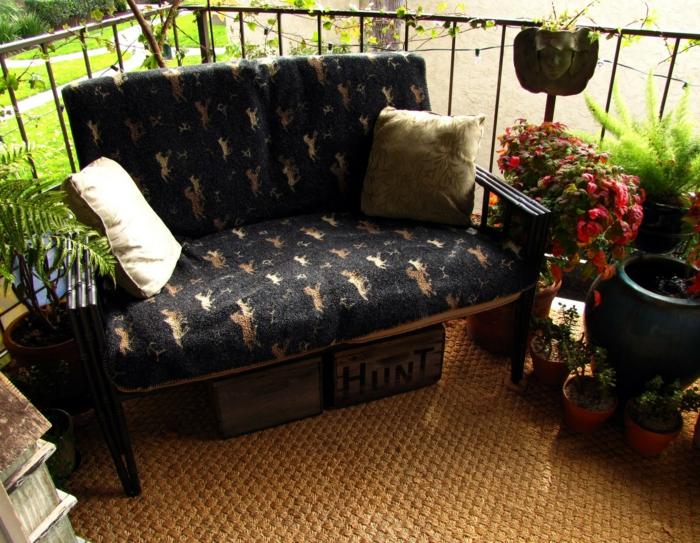 balkongestaltung ideen pflanzen sofa balkonmöbel dekoideen