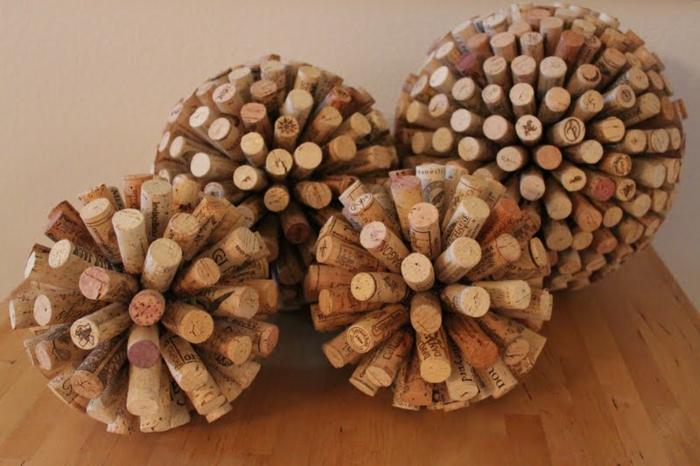 dekoideen korken bälle dekoration