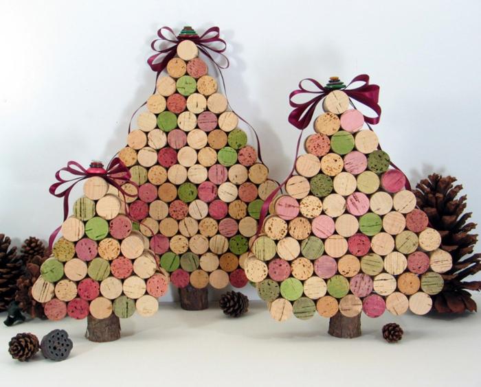 bastelideen korken diy weihnachtsdekoration tannenbäumchen