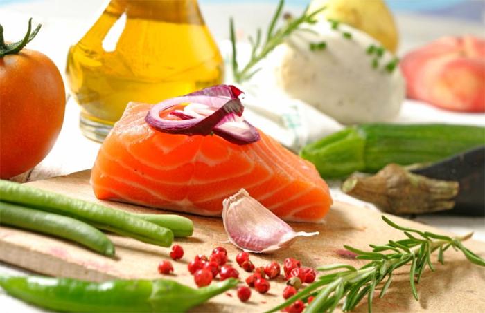 bauchfett weg lachs gemüse olivenöl rosmarin
