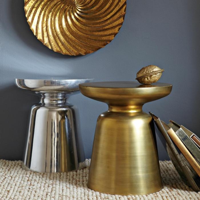 beistelltisch design martini set gold silber