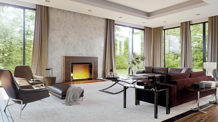 beistelltisch glas wohnzimmer ledersofa kamin lange gardinen