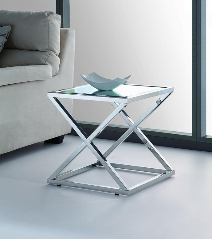 beistelltische glas metall design schöne wohnideen
