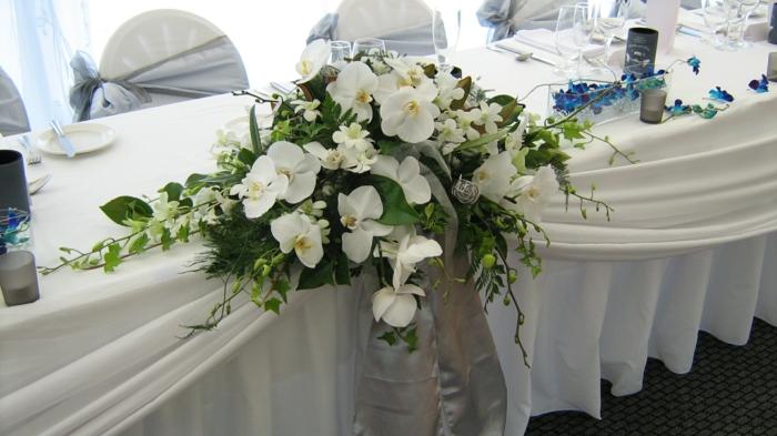 blumen tischdeko hochzeit weiße orchideen