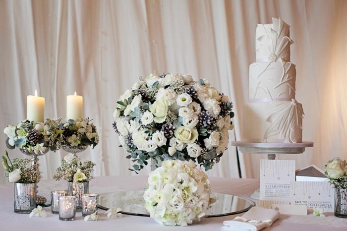 blumen tischdeko hochzeitsdekoration weiße rosen
