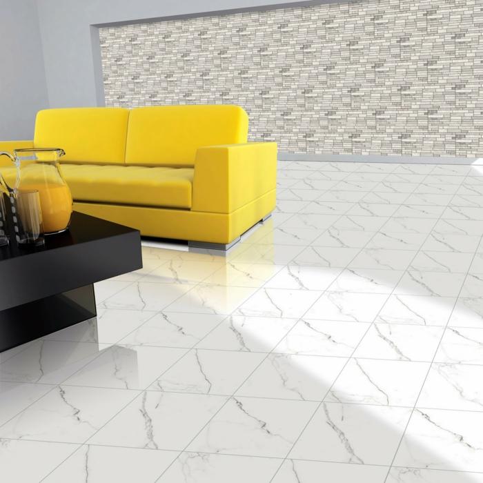 AuBergewohnlich Design Wohnzimmer Einrichten Gelbes Sofa Schwarzer Couchtisch Fr With  Fliesen Frs Wohnzimmer