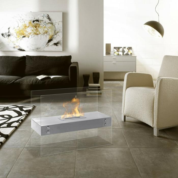 wohnzimmerboden modern:bodenfliesen wohnzimmer coole feuerstelle moderner sessel