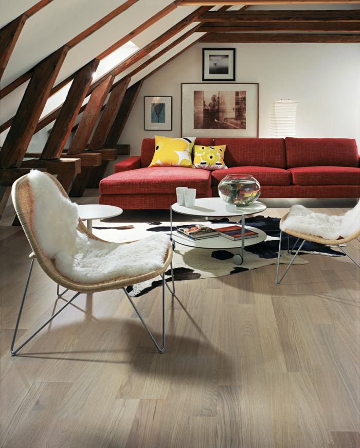 Hochwertig Dachgeschoss Einrichten Modernes Wohnzimmer Fellteppich