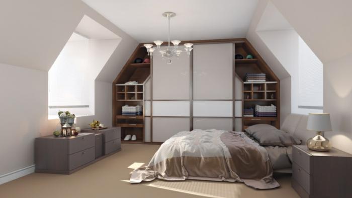 dachgeschoss einrichten schöne ideen schlafzimmer kleiderschrank
