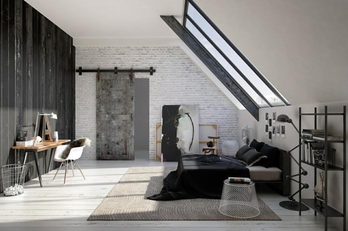 Dachgeschoss Einrichten Schlafzimmer Gestalten Teppich Ziegelwand