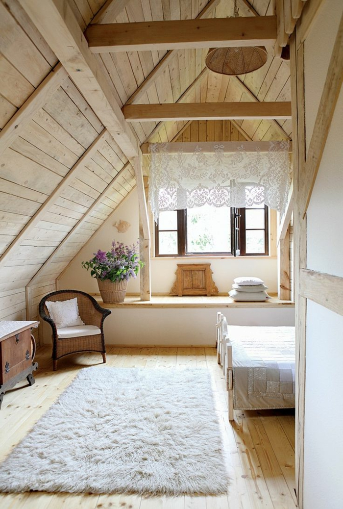 dachgeschoss einrichten schlafzimmer weißer teppich holz
