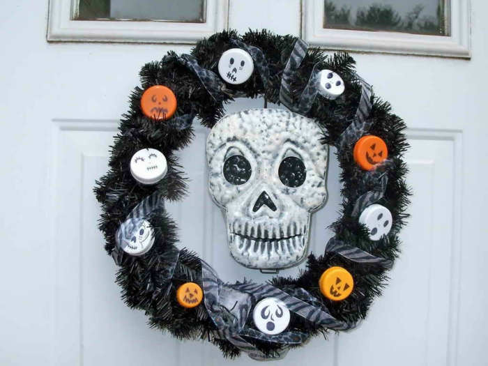 deko halloween halloweenkranz eingangstür dekorieren