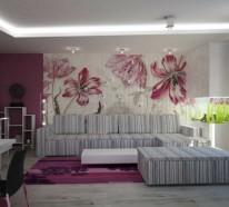 21 Wanddeko Ideen mit floralen Motiven