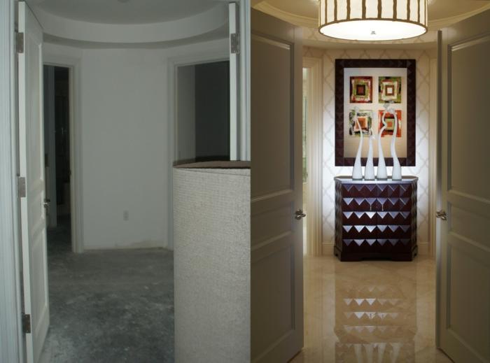 dielen flur gestalten runde formen hochglanz modernes design