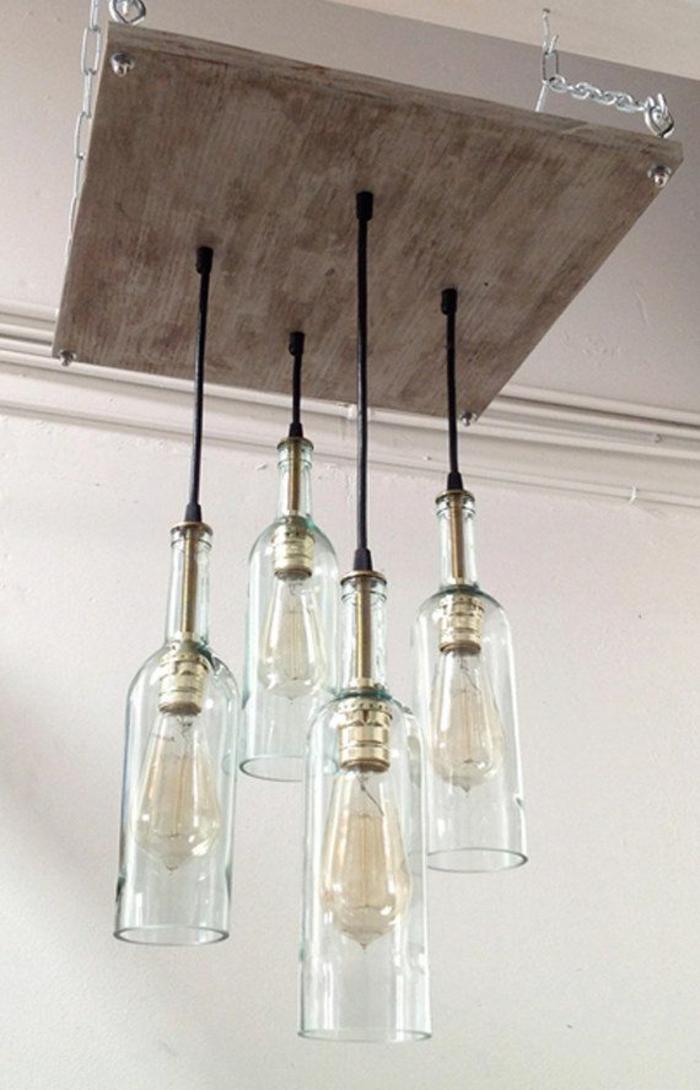 diy industrielampen glasflaschen einsetzen holzplatte