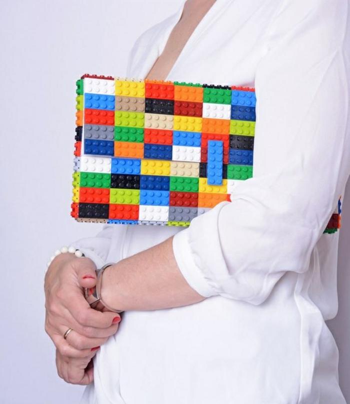 diy projekte lego steine handtasche kunterbunt clutch