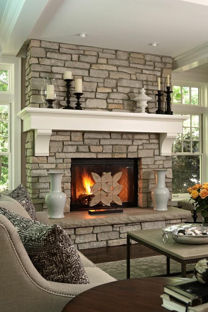 wohnzimmer wand steine kaminfeuer und passende deko um den kamin herum deko wandsteine wohnzimmer - Deko Wandsteine Wohnzimmer