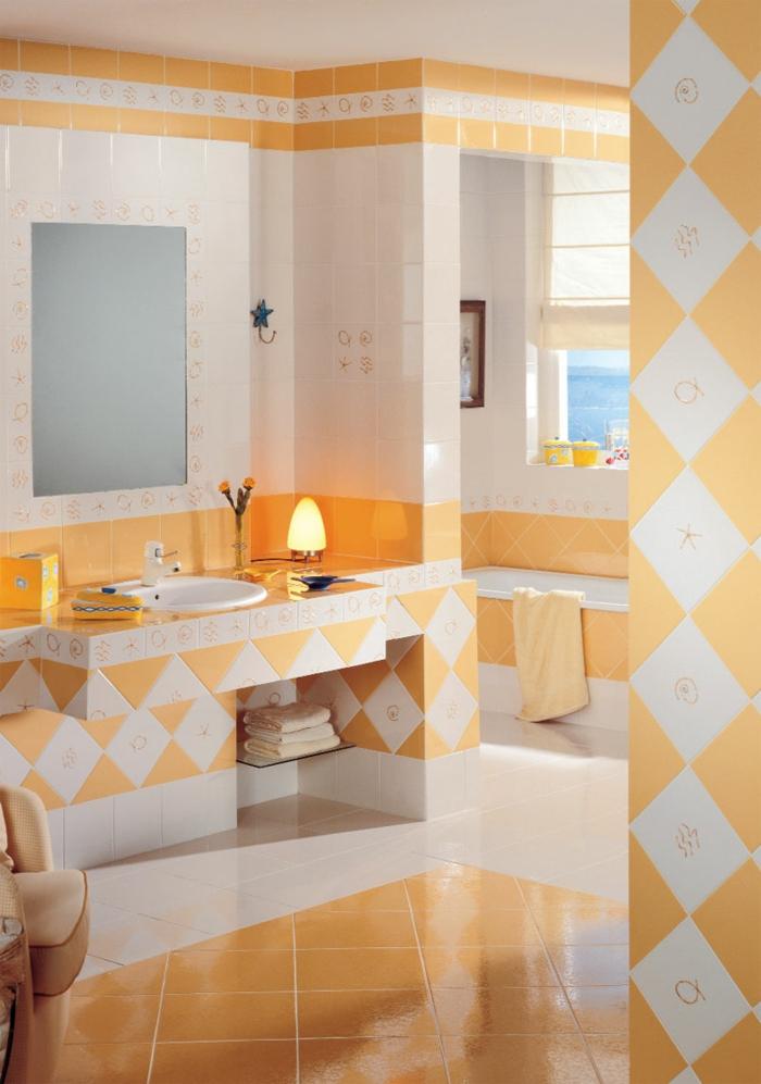 fliesen farbe badezimmer gestalten gemütlich orange weiß kombinieren