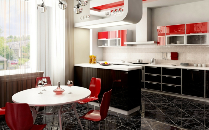 fliesen farbe küche essbereich dunkle bodenfliesen schwarze küchenschränke